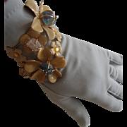 BIG Wraparound Cuff Bracelet: Blossoms w/Glass Faux-Quartz Stones