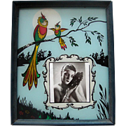 Art Deco Reverse-Painted-Glass Picture Frame:  Bird & Nature Figural