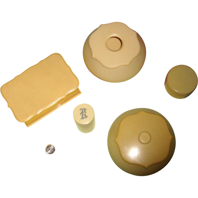 "5-Piece Art Deco Celluloid Dresser Set: One Marked ""Tuskeloid"""