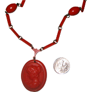 Dainty Old Faux-Coral Cameo Necklace: Italian Style