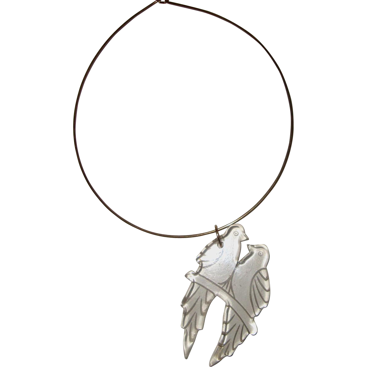 Huge, Outré Clear-Lucite Birds Pendant Necklace: Reverse-Carved