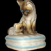 Siamese Mama & Kitten Siamese Cats Music Box: 1982: Made in Japan