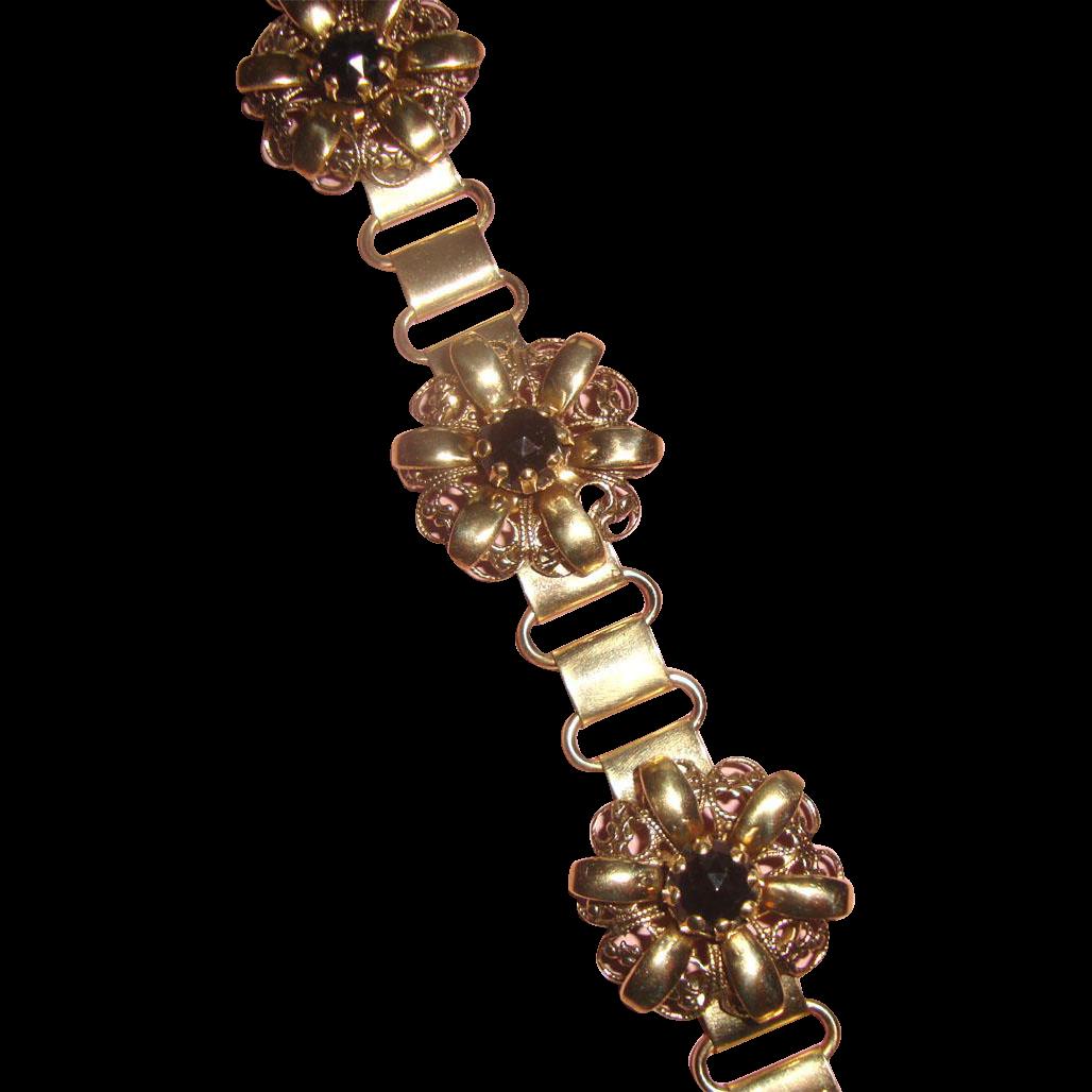 Beauteous Book Chain Bracelet: Black Stones: C. 1940s