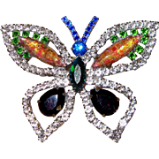"Large Rhinestone Butterfly Brooch: Signed ""EG"""
