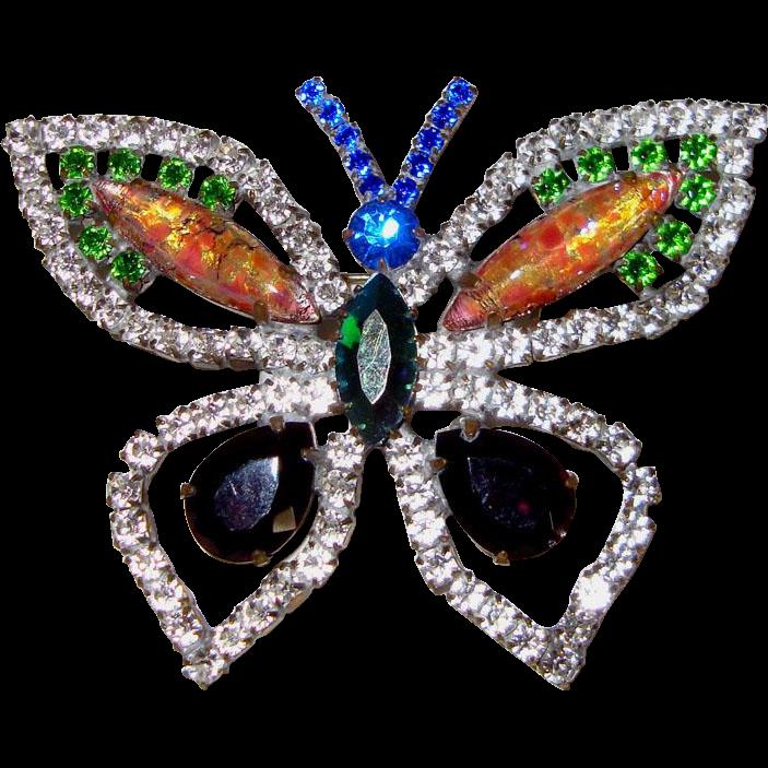 "Large Rhinestone Butterfly Brooch: Signed ""EG"""