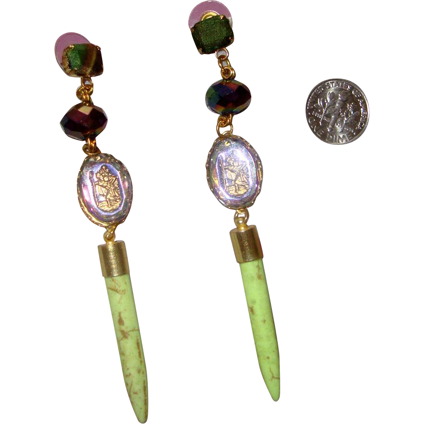 Gorgeous Shoulder-Duster Earrings: St. Christopher & Jesus Religious Motif: New/Old Stock