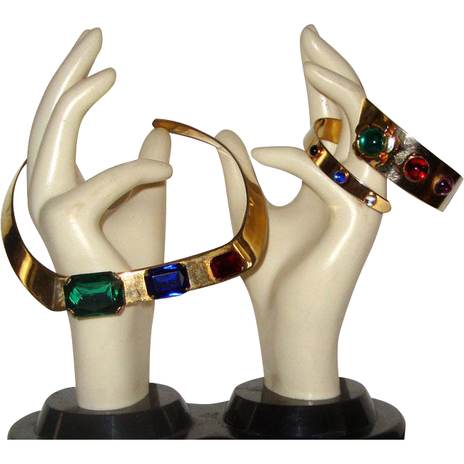 Striking Choker Necklace & Wraparound Bracelet: Goldtone w/Colorful Stones: C. 1980s