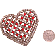 Big Lipstick-Red & Clear-Rhinestone Heart Brooch