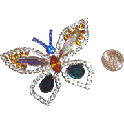 Big, Beautiful Butterfly Brooch: Signed: Aurora-Borealis Rhinestones