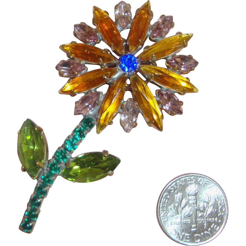 Huge, Charming Old Rhinestone Flower Brooch