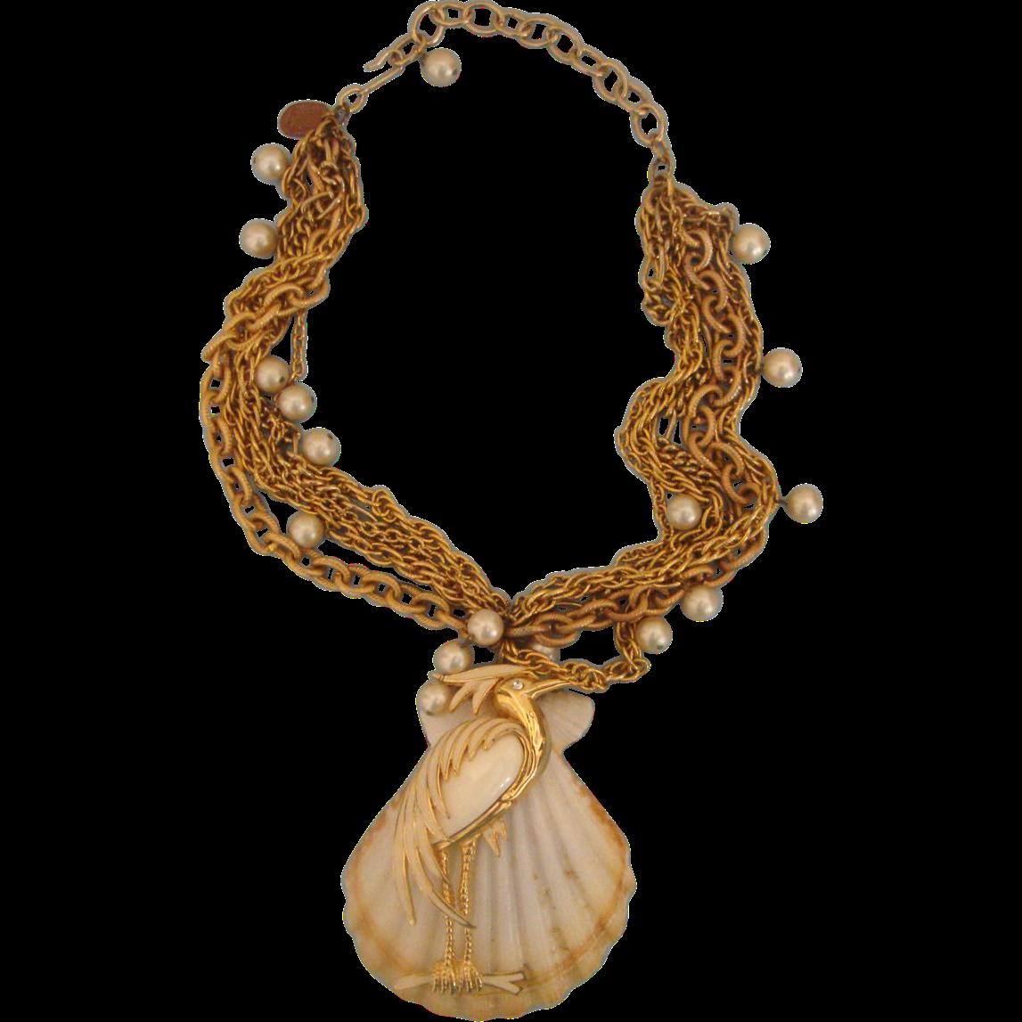 Heady & Huge Heron-on-Seashell Repurposed Necklace:  OOAK
