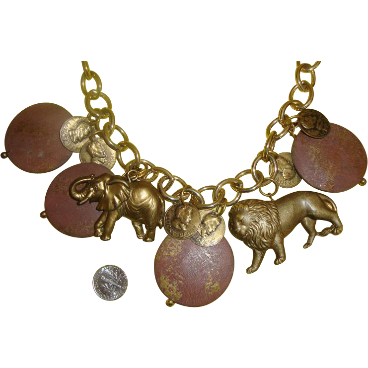 Chunky Lion & Elephant Charm Necklace: Wood, Metal, Plastic