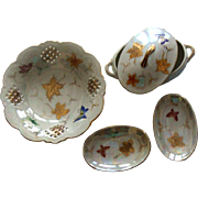 Lustrous Lusterware Dish + Trinket Plates in Lidded Bowl: Made in Japan