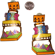 Big Edgar Berebi Egyptian-Motif Earrings: Signed: Pyramids, Faces