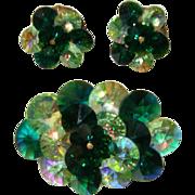 Gorgeous Green Watermelon-Glass Rivoli Brooch & Earrings