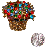 NICE PRICE!  C. 1940s Flowers in Basket Brooch