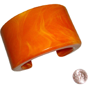 Chunky Marbelized Butterscotch Cuff Bracelet: Made in Hong Kong: Mid-Century
