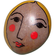 Lady Face Brooch: Handpainted on Highly Polished Stone: Signed Folk Art