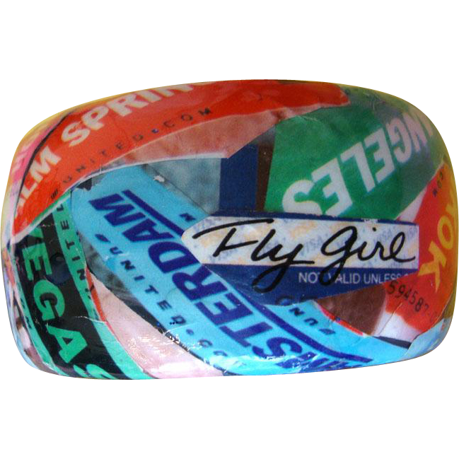 "Chunky Collage Travel Bracelet:  City Names & Planes: ""Fly Girl"""