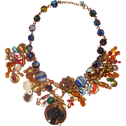 Fantastic Hodgepodge Bib Necklace: Blackamoor Face Centerpiece: OOAK