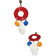 Native-American Two-Faces Earrings: Southwestern Style: C. 1990s