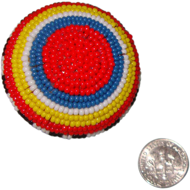 BIG Beaded Afrocentric Ring:  Size 8: New/Old Stock