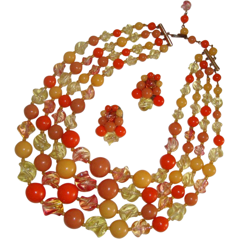 Chunky Fruit-Colored Necklace & Earrings: Germany: Mid-Century: Demi-Parure