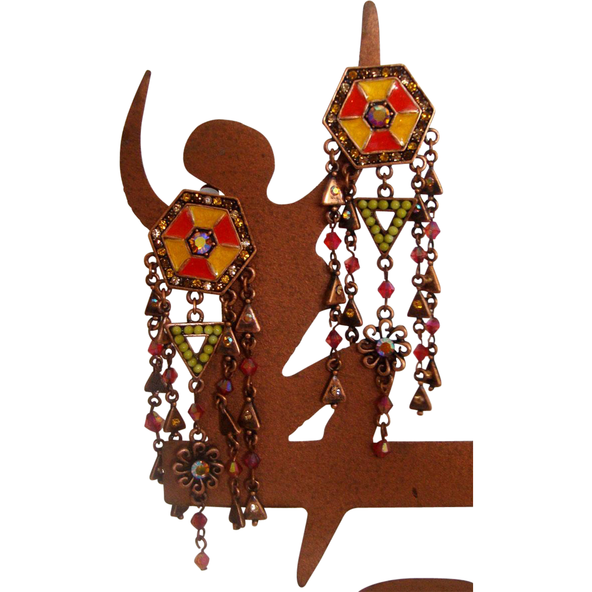 Striking Copper-Colored Shoulder-Duster Earrings: New/Old Stock