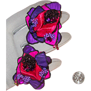 Outstanding Fuchsia & Purple Paper Earrings: Disco Era: OOAK Pair