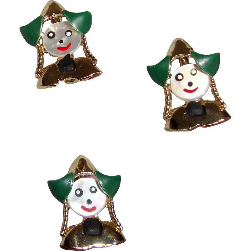 3 Darling Dutch Girl Scatter Pins: Mother of Pearl: Hand-Painted Lady Faces