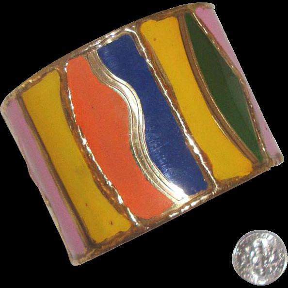Big Wavy, Multi-Colored Cuff Bracelet: Mod Styling