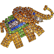 Rhinestone Elephant Brooch: Signed