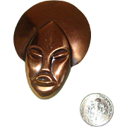 NICE PRICE!  Copper-Colored African-Lady-Face Brooch
