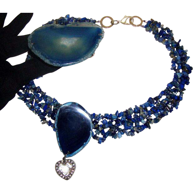 Phenomenal Lapis-Colored Glass Quartz Necklace & Bracelet