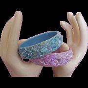 Carved Flower Bangle Bracelet Duo:  Iridescent!