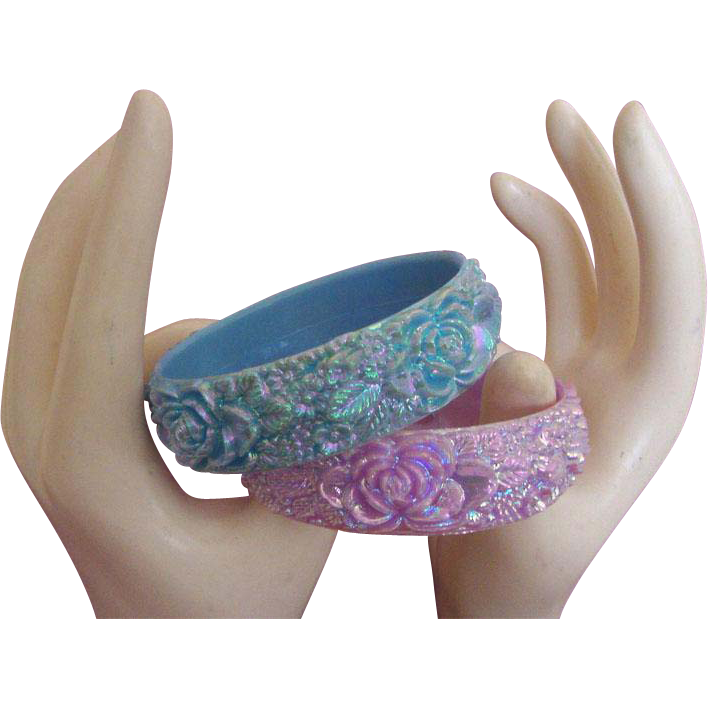 Carved Flower Bangle Bracelet Duo:  Iridescent!