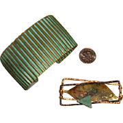 Modernist Brooch & Cuff Bracelet: Mixed Metals & Verdigris Coloring