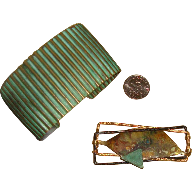 Modernist Brooch & Cuff Bracelet: Mixed Metals & Verdigris Coloring