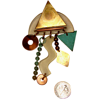 OOAK Vintage Modernist Brooch: Clear Lucite, Mixed Metals