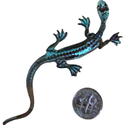 Long Verdigris-Colored Lizard Brooch
