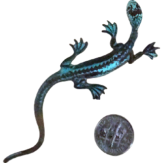 Long Verdigris-Colored Lizard Brooch