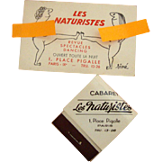 1950s Paris, Place Pigalle Matchbook & Business Card: Cabaret Keepsakes
