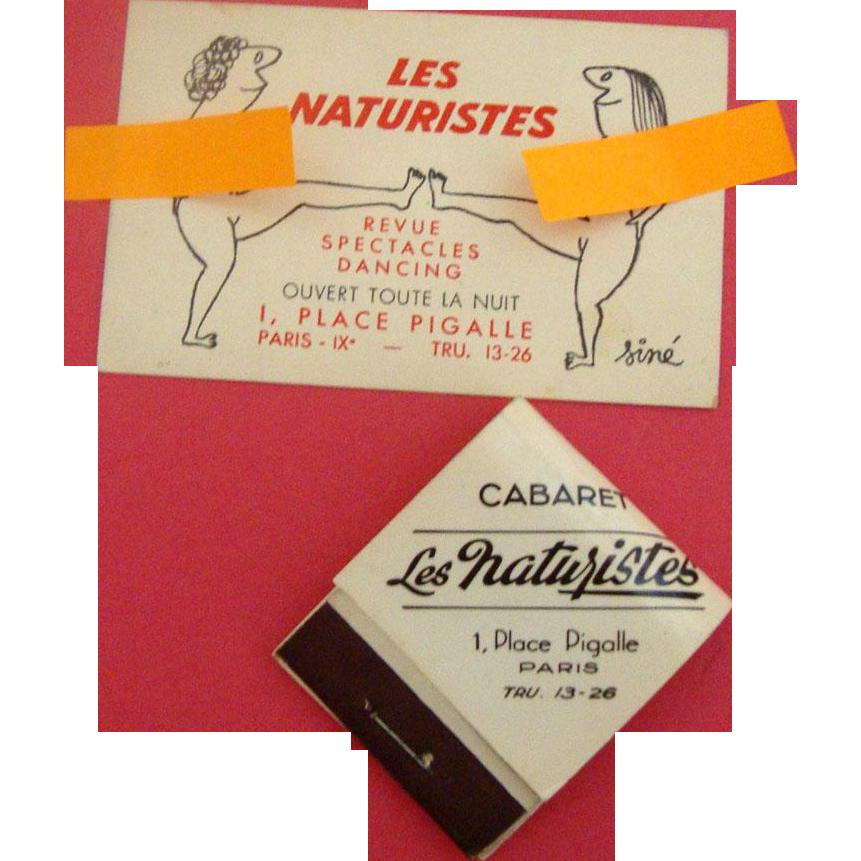 1950s Paris, Place Pigalle Matchbook & Business Card: Cabaret Keepsakes