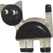 Reverse-Carved Clear-Lucite & Black Cat Brooch: Modernist Styling