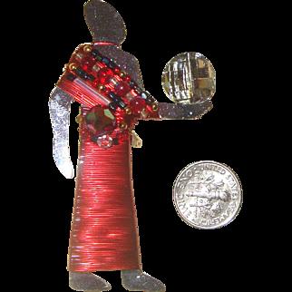 LIZTECH Egyptian-Revival Light-Bearer Brooch: Mirrored Glass