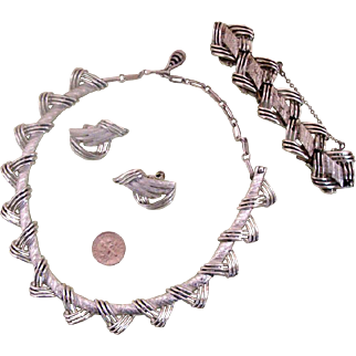 Mid-Century CORO Parure: Necklace, Bracelet, Earrings
