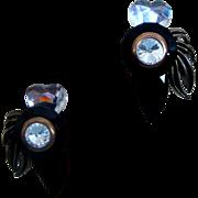 Black, Clear, & Goldtone Runway Diva Earrings