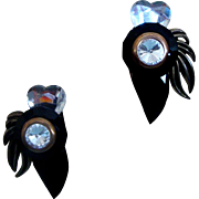 Black, Clear, & Goldtone Runway Diva Earrings