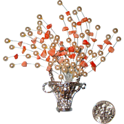 LAST CHANCE!  Large Flowers-in-Basket Brooch: Tussie Mussie Style