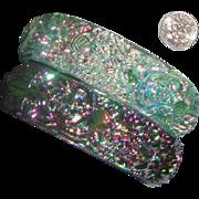 "Plastic Watermelon ""Glass"" Bangle Bracelet Duo: Luminous Carved Flowers"